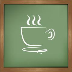 Coffee cup drawing on blackboard background