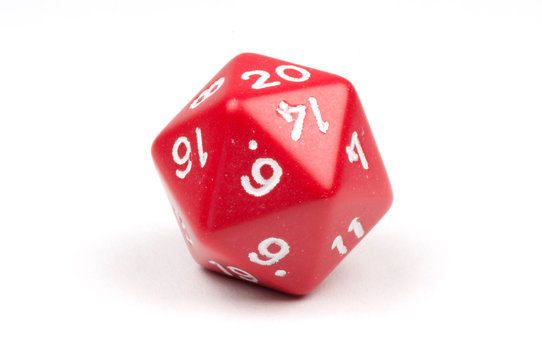 A single red twenty-sided die on white