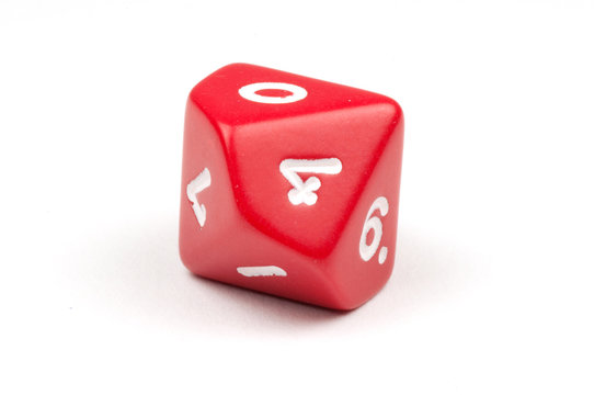 A single red ten-sided die, on white