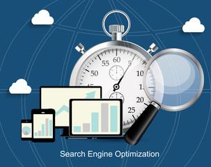 SEO - Search Engine Optimization Flat Icon Vector Illustration