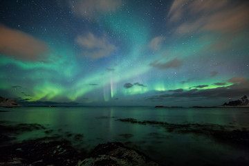 Wall Mural - Northern lights above a beach in Norway
