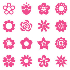 set of simple flat flower icons