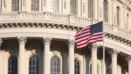Wall Mural - Flag at United States Capitol Building, Washington, DC