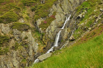 Small waterfall in Carpathians mountains