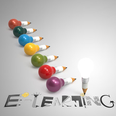 design graphic hand drawn E-LEARNING word and pencil lightbulb 3