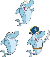 Shark Cartoon Mascot Character 1. Set Collection