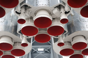 Bottom details of space rocket engine