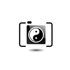 Photography logo- digital camera with ying yang symbol