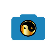 Photography logo- digital camera with ying yang symbol