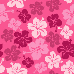 Floral seamless pattern of Hawaiian hibiscus