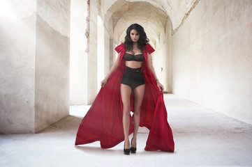 Sexy woman in red coat