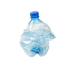 An empty smashed blue plastic bottle, isolated on white background