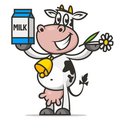 Cheerful cow holds flower and packaging milk