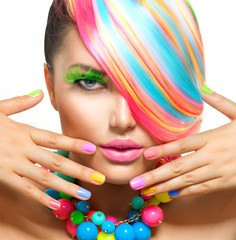 Foto op Canvas Beauty Beauty Girl Portrait with Colorful Makeup, Hair and Accessories