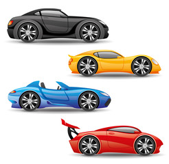 Car icons isolated on white.