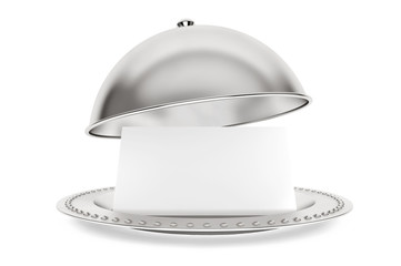 Silver Restaurant cloche with paper template