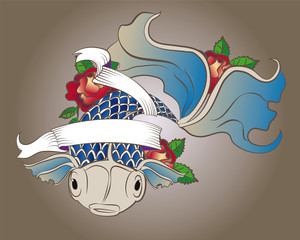 tattoo depicting fish with blue scales with roses and ribbon