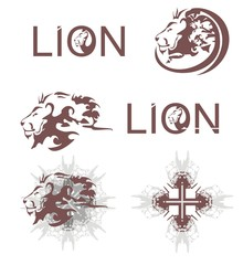 Lions heads, lions cross, lions text