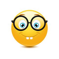 Nerd emoticon on a white background