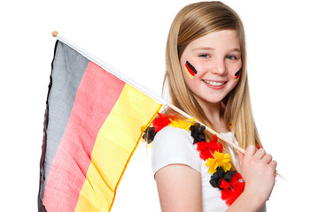 girl cheers for the german soccer team