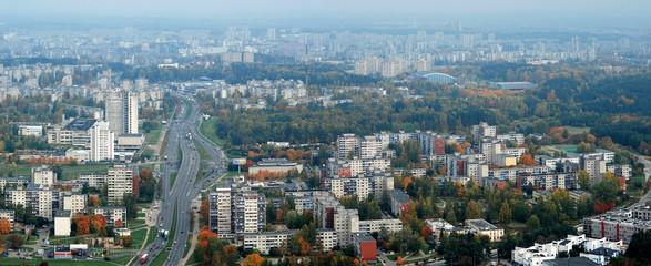 Vilnius city aerial view - Lithuanian capital bird eye view