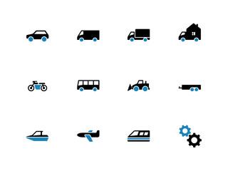 Cars duotone icons on white background.