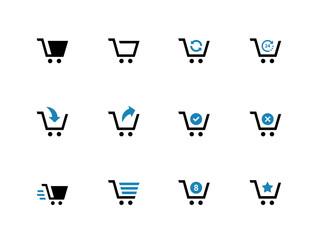 Shopping cart duotone icons on white background.