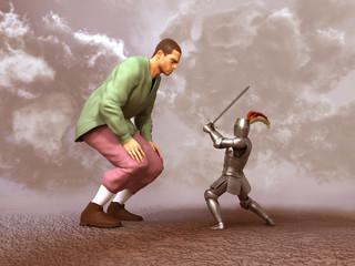 Caballero enfrentando a un gigante