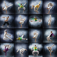Sporty modern dancers on a dramatic background