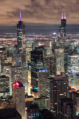 Wall Mural - Chicago Urban aerial view at dusk