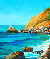 landscape of mediterranean sea with a beach and  bay, painting b