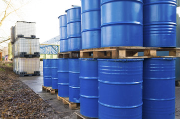 piled up oil barrels