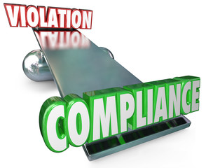 Fototapete - Compliance Vs Violation See-Saw Balance Following Rules Laws