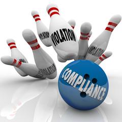 Fototapete - Compliance Bowling Ball Strike Violations Follow Rules to Win