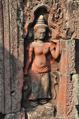 Beautiful ancietn carving of Preah Khan  in Cambodia