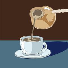 of Turks poured fragrant coffee mug