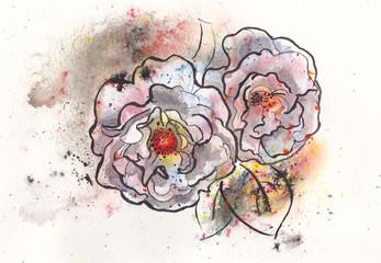 Rose handgemalt
