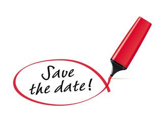 Save the date - Textmarker mit Kringel