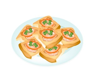 Fried French Bread with Pork Spread in White Plate