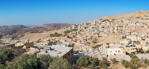 Panoramic view of Taybeh village near Petra