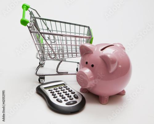 Caddie calculette cochon tirelire photo libre de droits for Calculette en ligne gratuite