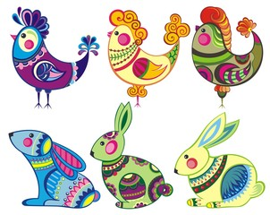 Easter set of bunny and chiccens