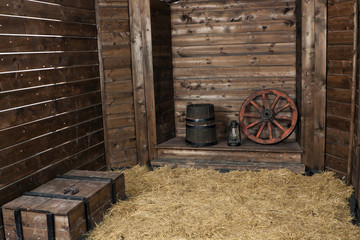 Interior of a wooden hayloft