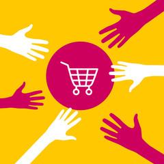 Hands reach for a  shopping cart.
