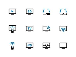 TV duotone icons on white background.