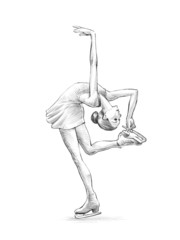 Hand-drawn Sketch, Pencil Illustration of a Figure Skater Woman