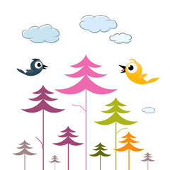Vector Paper Trees, Birds and Clouds