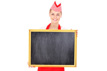 Waitress with a chalk board