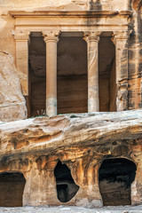 Antique Nabatean Temple of the God Sun in Little Petra