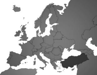 3D Europakarte grau / weiß- Türkei in dunkelgrau